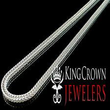 Men's Long 14k White Gold Finish Franco Snake Box Link Chain Necklace 3mm 40Inch