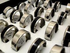 Wholesale 50pcs Black Enamel Silver MIX Men's Fashion Stainless Steel Rings