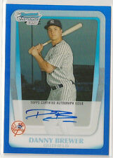 Danny Brewer 2011 Bowman Chrome Prospect BLUE Refractor Auto /150 - NY YANKEES