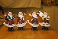 SET OF 4 CHRISTMAS ORNAMENT SANTA CLAUS TRADITIONAL OLD FASHION SANTA'S TREE NEW