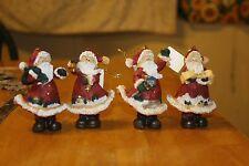 SET OF 4 CHRISTMAS ORNAMENT SANTA CLAUS TRADITIONAL OLD FASHION SANTA'S TREE NEW