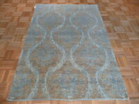 4 X 6 Hand Knotted Soft Blue Oushak Oriental Rug 100% Vegetable Dyes G1290