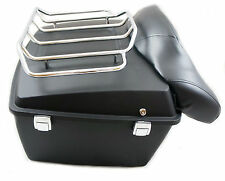 Mutazu Denim Matte Black King size Tour Pak Trunk with top Rack for Harley