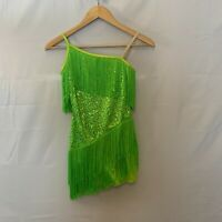 Dance Costume Child Large Lime Green Sequins and Fringe Asymmetrical w/ shorts