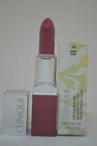 Clinique Pop Lip Colour + Primer BNIB 3.9g/0.13oz. ~14 plum pop~full size~defect