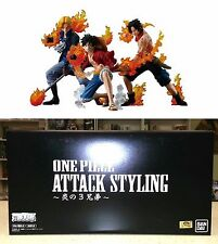 One Piece Attack Styling Flame Brothers LUFFY ACE SABO Box Figure Set Bandai New