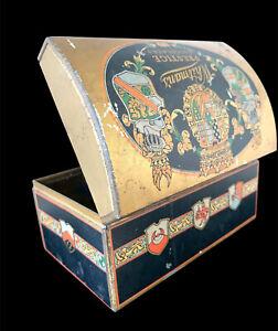 Vtg Whitman's Prestige Chocolates Gold Litho Tin Dome Hinged Lid Trunk-Shaped
