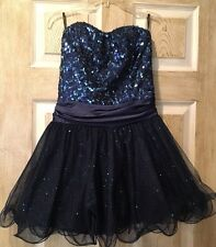 Women Speechless Dress, SIZE 3, Blue, Short, Tutu, Sequin, Shiny, Strapless