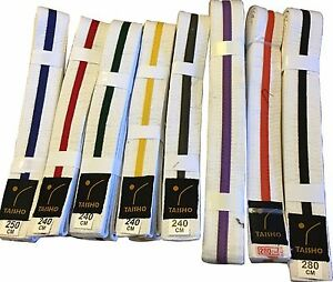 WHITE BELTS with COLOURED STRIPE Judo, Karate, Kickboxing, MMA, Taekwondo