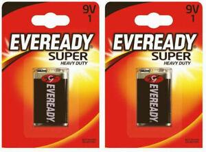 New 2x Eveready Super Heavy Duty 9V Battery Long-Lasting Power Multi-Purpose New