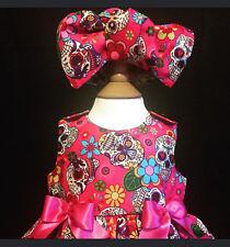 SKELETOTS baby/girl pink sugar skulls bow headband goth rock punk
