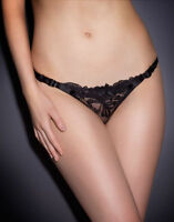 Agent Provocateur LARIZSA THONG in BLACK FRENCH EMBROIDERY - AP Size 5 - BNWT