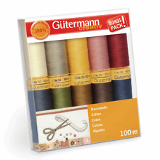 GUTERMANN COTTON SEWING THREAD SET 3 10 X NATURAL COLOURS 100M REELS   734521.3