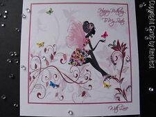 Handmade Personalised Birthday Fairy Card - Gem encrusted dress, tiny butterflie