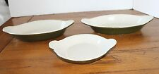Vintage Lot Of 3 Pieces Green Hall Dishes Individual Casserole Au Gratin