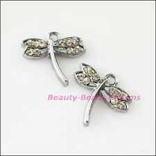 2Pcs Dull Silver Lovely Animal Dragonfly Crystal Charms Pendants 16x17mm