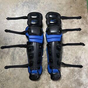 """Nike Baseball Vapor 18"""" Catchers Leg Guards Black Blue [PBP481-083]"""