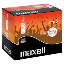 10 x Maxell Blank Recordable Audio Music CD-Rs In Jewel Case 700mb 80min - NEW