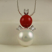 925 Silver Filled Pearl Red Coral & Clear Crystals Pendant Necklace Gift Idea N7