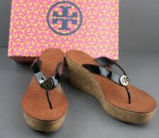 10be9003208b7 Women s Shoes Tory Burch Thora Wedge Black Patent Leather Size 9.5