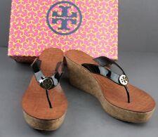 5e77f0dafa68 Women s Shoes Tory Burch Thora Wedge Black Patent Leather Size 9.5