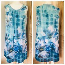 Ladies Pomodoro Dress Size 14 Blue Floral Summer Holiday Floaty Tunic Cruise
