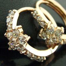 EARRINGS HOOPS HUGGIE REAL 18K ROSE G/F GOLD DIAMOND SIMULATED DESIGN FS3AN570