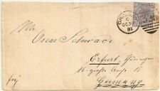1882 QV 2½d blue cover Grimsby Lincolnshire 323 duplex to Germany