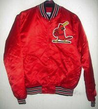 SAINT LOUIS CARDINALS Mens MEDIUM VINTAGE STARTER RED SATIN MLB BASEBALL JACKET