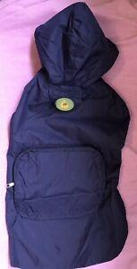 Dino Dog Stowaway Jacket Lightweight Belly Strap -Hiking Storage Leash Hole Blue