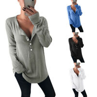 Womens Long Sleeve Crew Neck T-Shirt Ladies Casual Loose Tunic Tee Tops Blouses