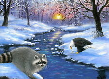 Raccoon bald eagle wildlife winter limited edition aceo print of painting art