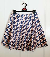 NIFE cotton patterned Blue Pink White Mini Flippy Skater Skirt sz 10