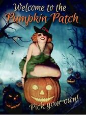 Pumpkin Patch Witch Pin-Up Metal Sign