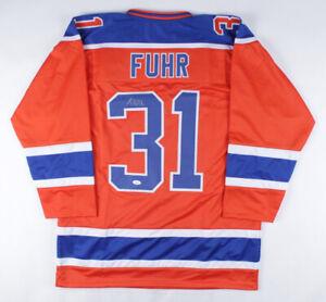 Grant Fuhr Signed Edmonton Oiler Jersey (JSA COA) 5xStanley Cup Champ Goaltender