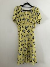 SUZANNAH Yellow Silk Floral 1930s Style Tea Dress. Excellent Condition. UK 12.
