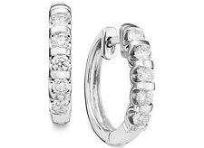 Over 70%OFF! 14K White Gold, Channel Set Full Carat Diamond Hoop Earrings