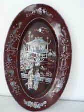 Grand plat bois laqué Chine Décoration (18450)