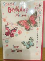 """OPEN FEMALE HAPPY BIRTHDAY GREETING CARD 7"""" BY 5"""" TRADITIONAL  CUTE  *FREE P+P"""