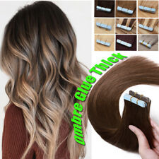 OMBRE 180G Tape In Remy Human Hair Extensions Skin Weft Full Head Double Thick F
