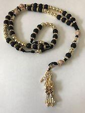 Santa Muerte Rosary Gold Filled Black Matt Beads Hand Made Brand New Great