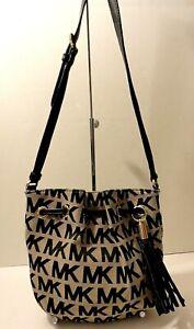 Michael Kors MK Print Leather Trim Crossbody Shoulder Purse Bag Tassel Tag Charm