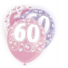 Pink Glitz 60th Birthday Age 60 Pack 6 Latex Party Balloons Suit Air Or Helium
