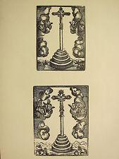Antigua Imagen Religiosa xilografía impresión ~ medieval Cruz