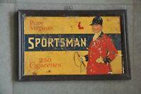 Vintage Framed Pure Virginia Sportsman Cigarettes Ad Litho Tin Signboard