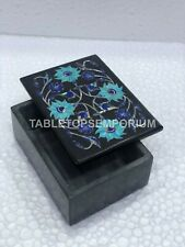 """4""""x3""""x2"""" Decorative Marble Jewelry Storage Box Marquetry Inlay Floral Arts E1311"""