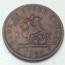 1857 Bank of Upper Canada One 1 Penny Token Circulated Canadian Copper Coin A22