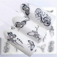 Nail Art Water Decals Stickers Transfers Butterflies Butterfly Flowers Lace 3090