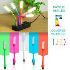 PACK 12 USB LED FLEXO OSSUN 90% AHORRO DE ENERGIA LUZ BLANCA BOMBILLA PC LAMPARA