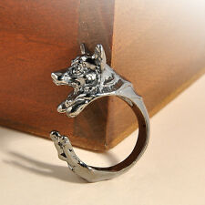 Hot Vintage Antique Rings Jewelry Bronze Bulldog Statement Wrap Animal Ring New